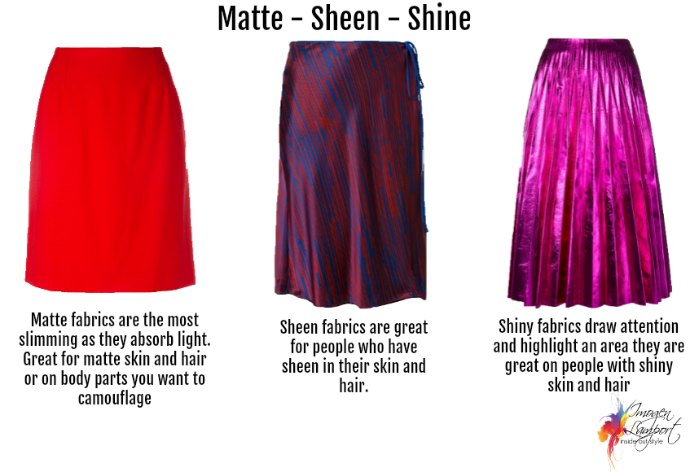 What fabric sheen suits you and your body? Matte, sheen or shine?