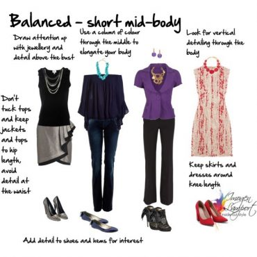 How to dress body proportions - balanced with a shorter mid-body