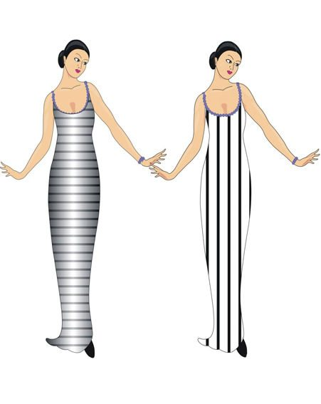 Dodgy study that 'makes' the horizontal look more slimming by the addition of vertical shading to the outside of the dress with horizontal stripes