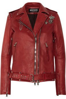 Balenciaga Red Leather Motorcycle Jacket From Net-a-Porter