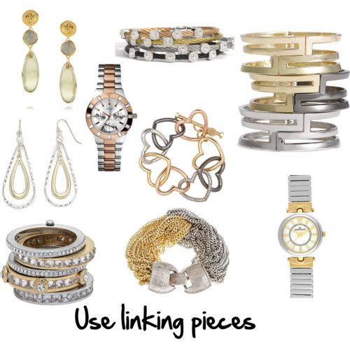 linking gold and silver by imogenl featuring logos jewelry