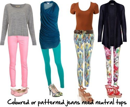 coloured and patterned jeans