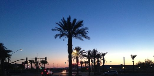 Sunset outside our hotel in Phoenix Arizona