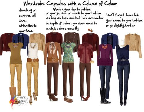 Wardrobe capsules column of colour