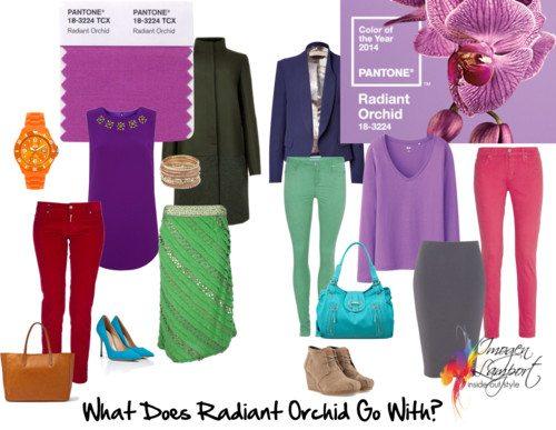 What does Radiant Orchid mix and match with