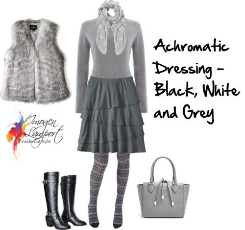 achromatic dressing in black, white and grey