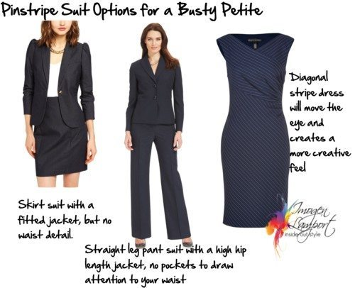 stripe suit options for a petite