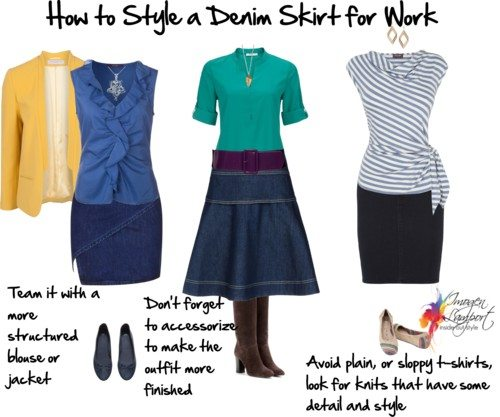 how to style a denim skirt for work