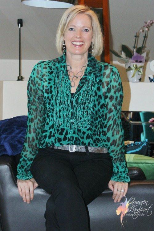 green ruffle leopard blouse