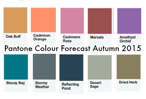Pantone Colour Forecast for Autumn/Winter 2015