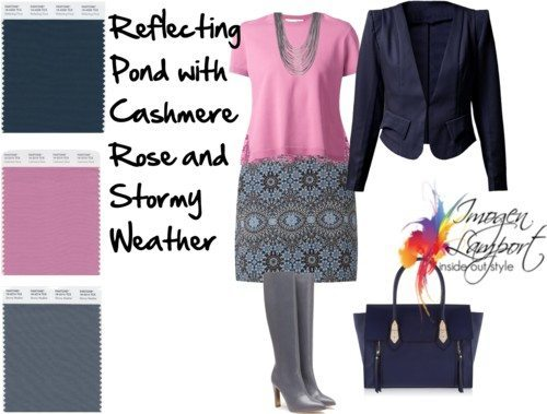 reflecting pond with cashmere rose and stormy weather