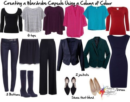 Wardrobe capsule column of colour