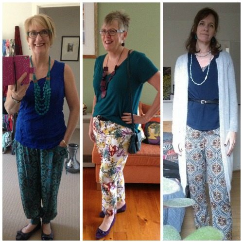 Loose trousers and a knit top