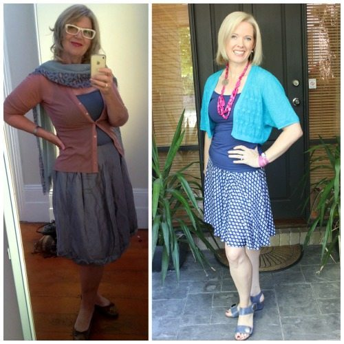 skirt top and cardi