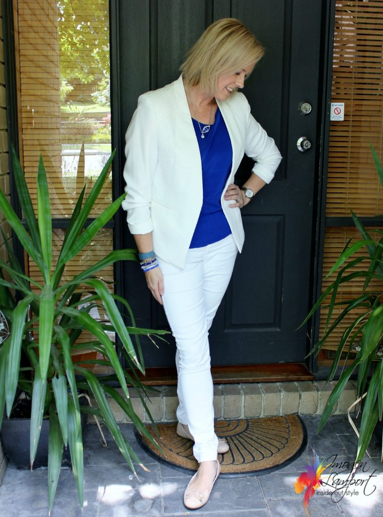 white jacket and jeans