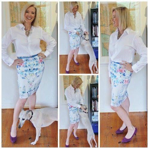 white shirt floral skirt