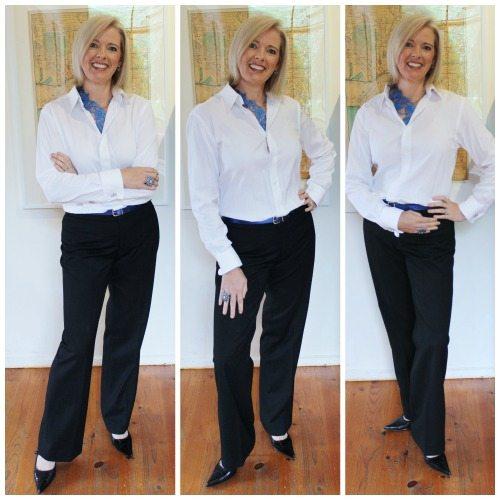 white shirt black pants
