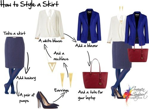 how to style a skirt for the office