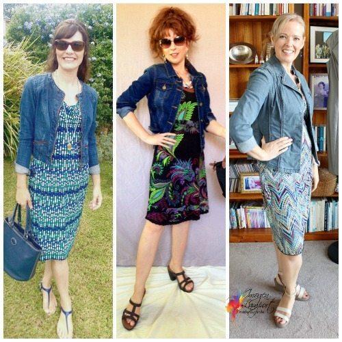 denim and knit dress