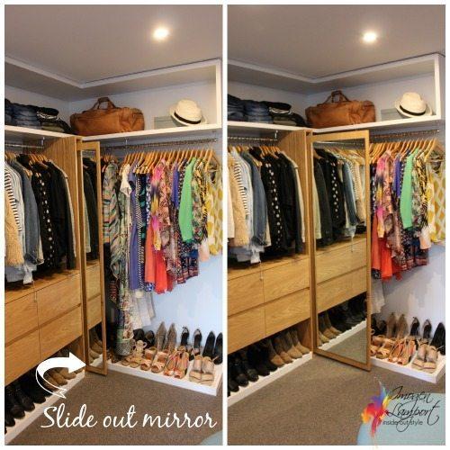 slide out mirror in walk in wardrobe
