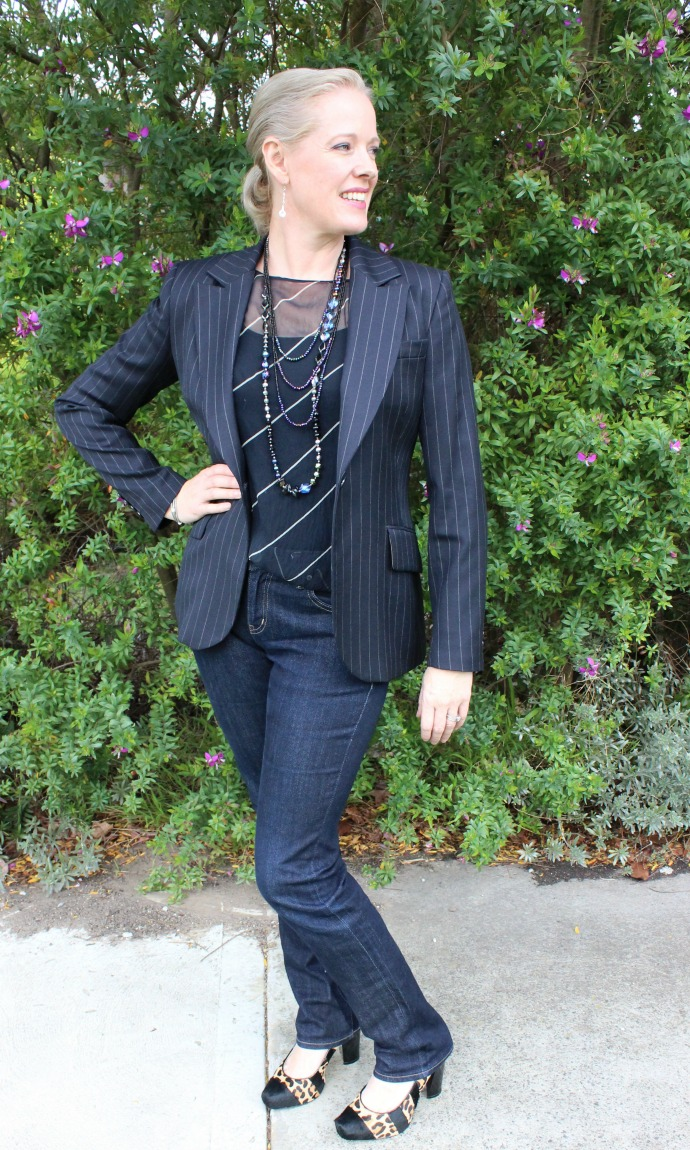 dressed up denim for evening wear with a blazer