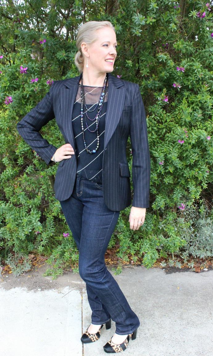 dressed up denim for evening wear with a blazer