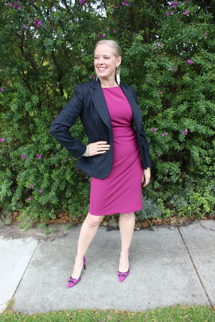 A blazer over a cocktail frock