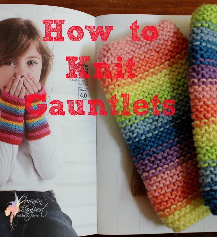 KNitting pattern for knitting kids gauntlets or fingerless gloves