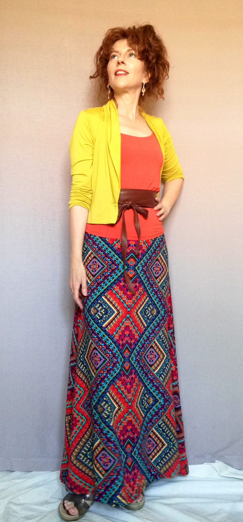 The coming together of my Spicy palette and my A-line maxi and obi belt as signature style pieces