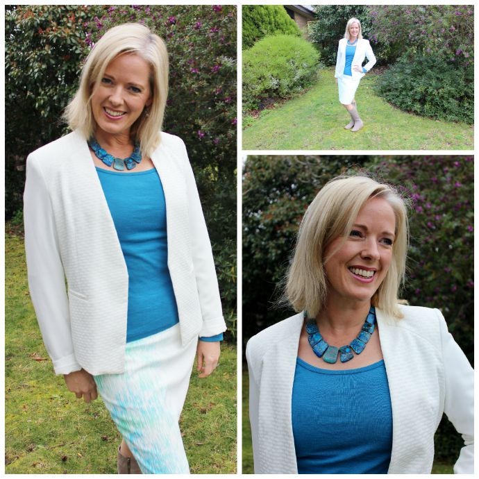 White and blue outfit - inside out style blog