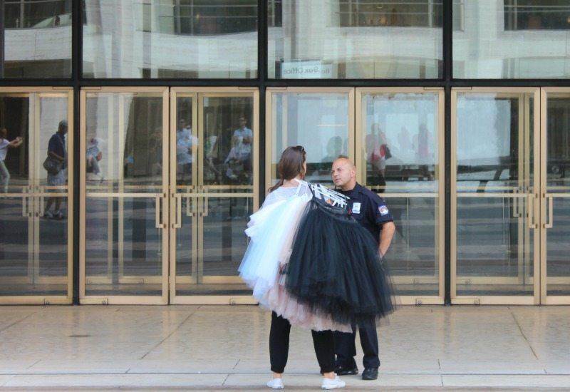 Ballet dancer outside the Lincoln Centre New York