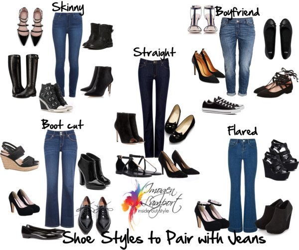 Shoe styles to wear with Jeans styles