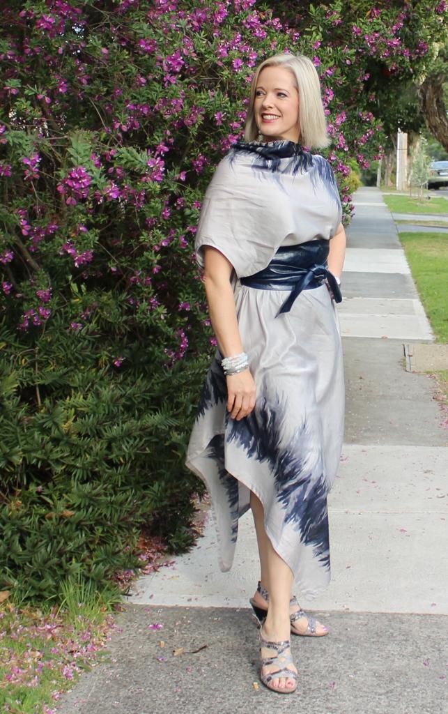 Silk cotton grey dress with navy obi belt