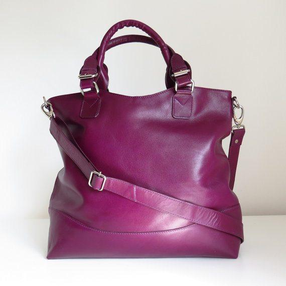 Purple handmade leather tote handbag