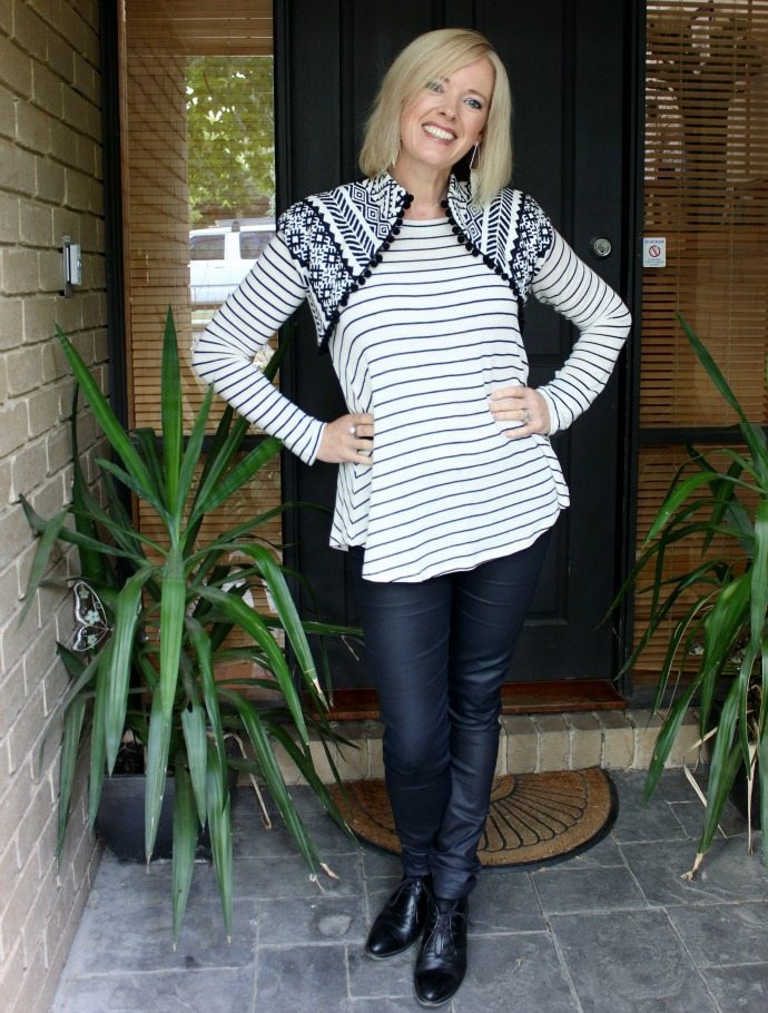 Black and white pattern mixing with a shrug