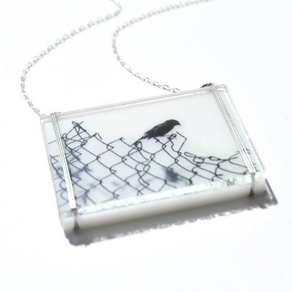 Handmade glass bird necklace