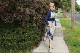 grey alfia galimova dress with navy obi and jacket