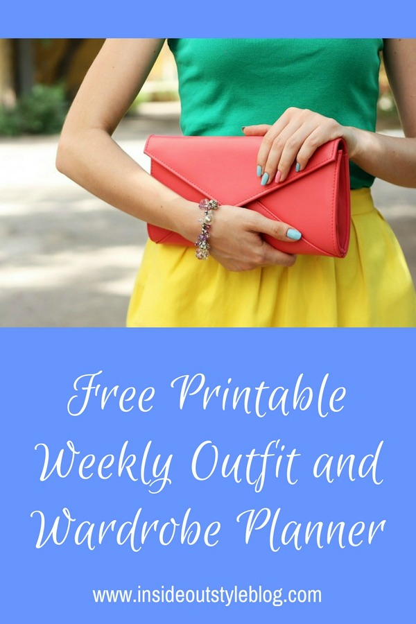 Get your free printable weekly outfit and wardrobe planner
