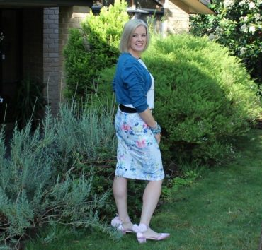 Floral skirt with a teal shrug