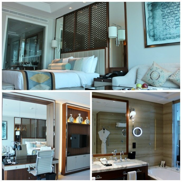 Desk and amenities of the Taj Dubai hotel