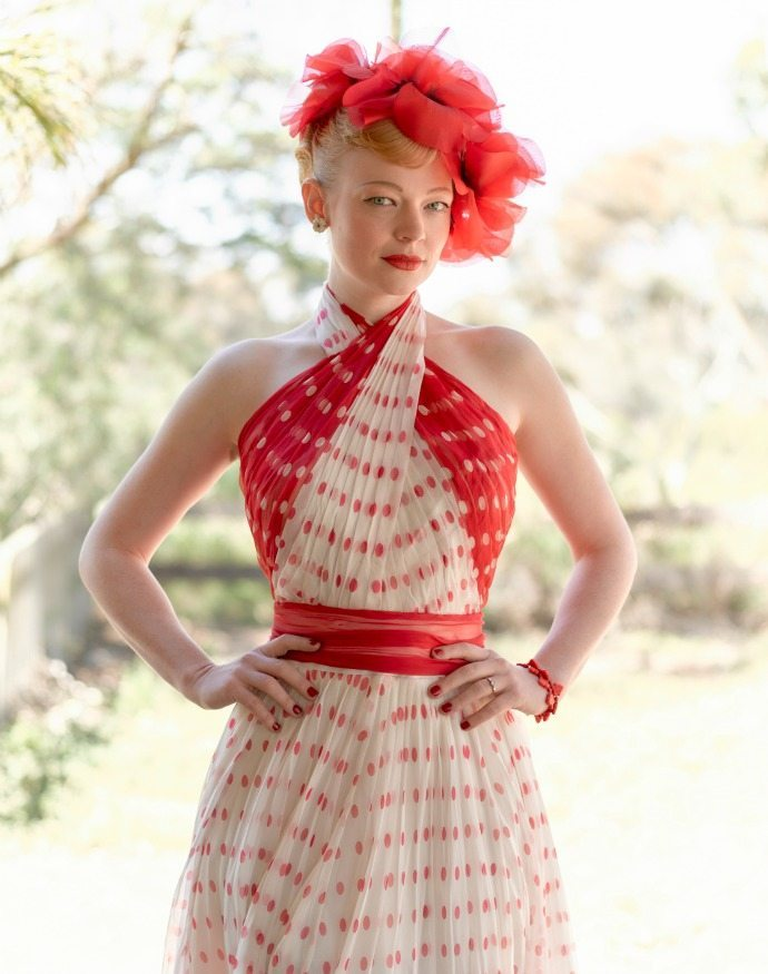 Red and white costume from The Dressmaker Exhibition