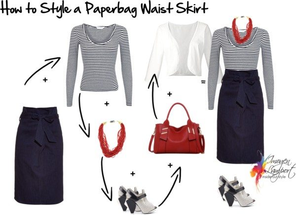 how to style a paperbag waist skirt