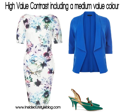High Value Contrast Including a Medium Value Colour