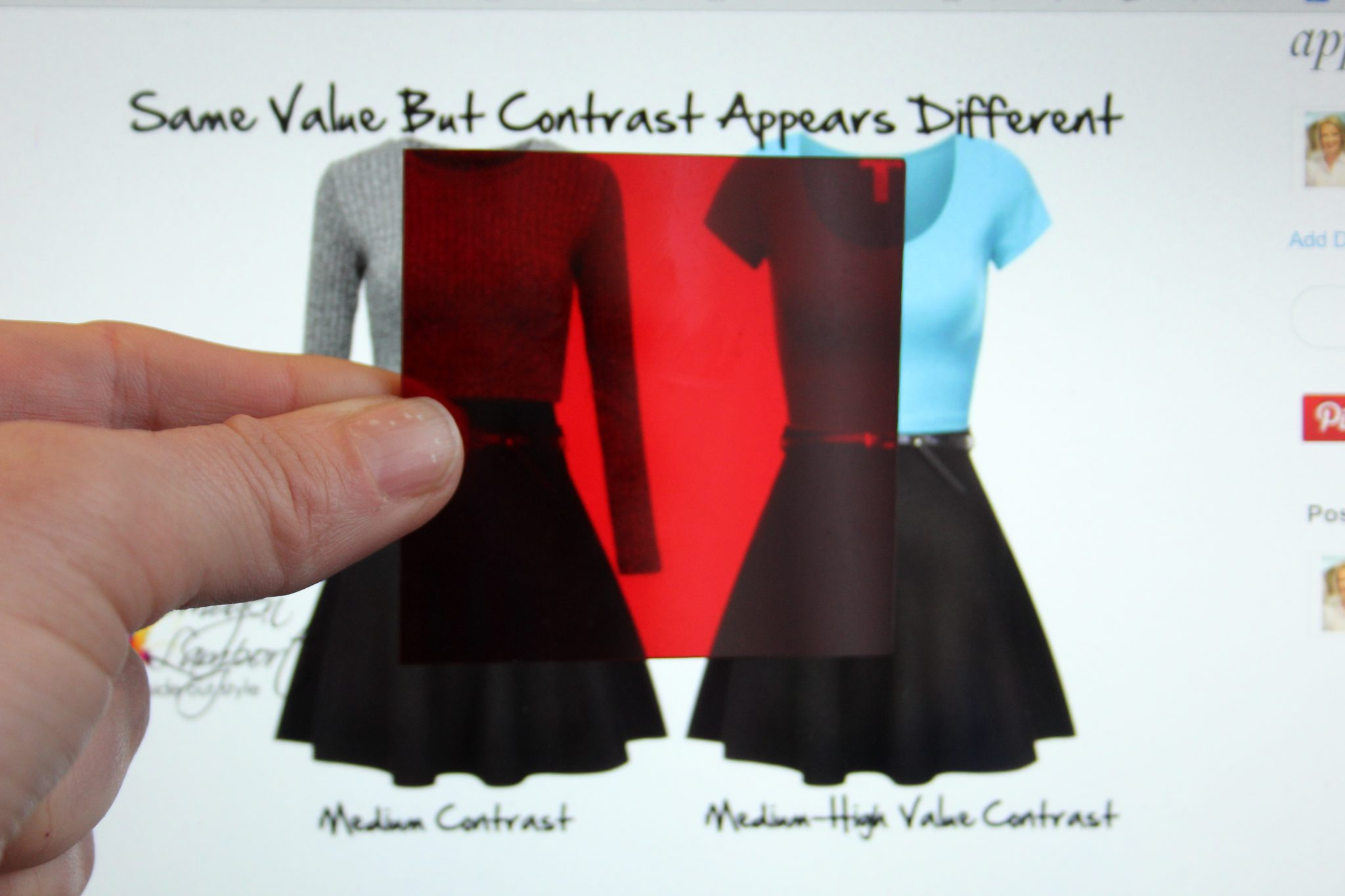 Understanding how bright colours can increase the perceived value contrast of an outfit