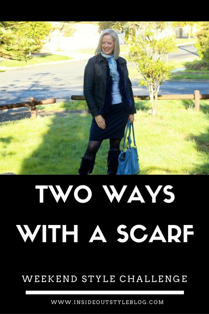Wear a scarf 2 ways - weekend style challenge- inside out style blog