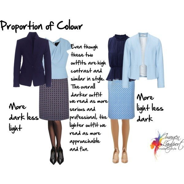 Efffect of colour proportions on how we read an outfit