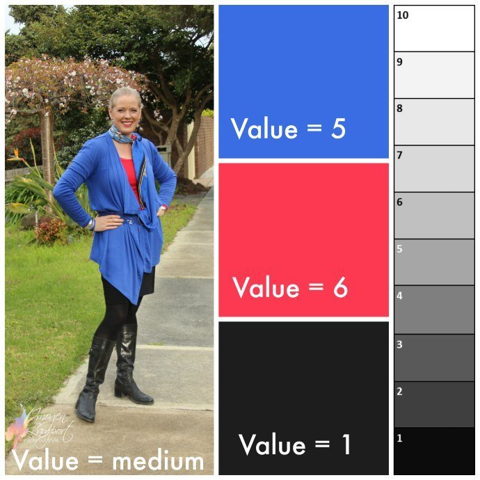 Medium value contrast outfit - understanding contrast