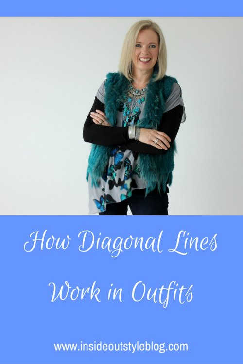 How diagonal lines work in outfits - how to use them to make you look more balanced or slimmer or to draw attention to your face