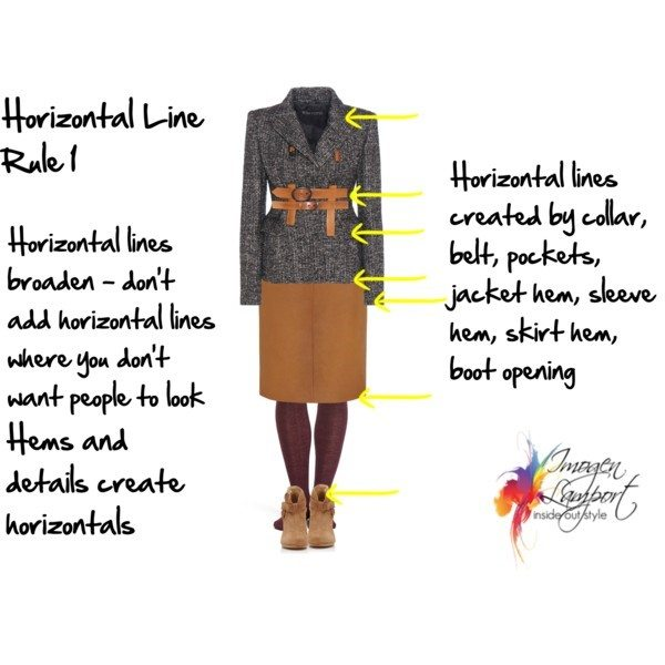 Where are horizonal lines found on clothes?