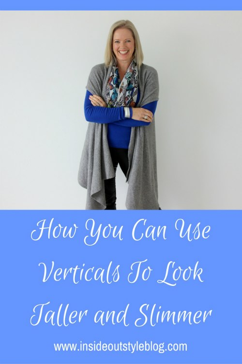 How to Look taller and slimmer by using vertical lines in clothing detail
